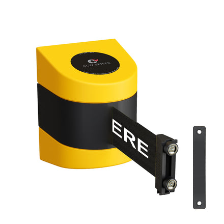CCW Series WMB-220- Wall Mounted Retractable Belt Barrier- Yellow Magnetic ABS Case- 10, 13, & 15 Ft. Belts