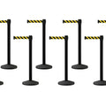 Set of (8) CCW Series RBB-100 Black Post Retractable Belt Barriers - 12 Ft. Belt | FREE SHIPPING