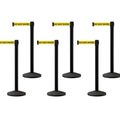 Set of (6) CCW Series Black Post Retractable Belt Barriers - 10 Ft. Belts | FREE SHIPPING