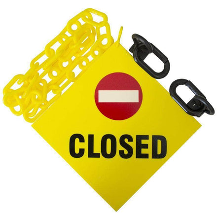 Closed sign with chains