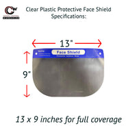 Clear Plastic Protective Face Shield - Full Coverage Personal Protective Safety