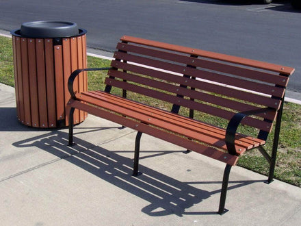 L-Shaped ADA Wood Park Bench - 60 In.