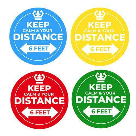 Floor Stickers: Keep Calm And Keep Your Distance - 8 inches Diameter