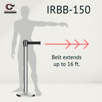 CCW Series IRBB-150 Retractable Belt Barrier Polished Stainless Steel Post, Cast Iron Base - 16 Ft. Belt