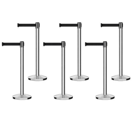 Set of (6) Free Ship CCW Series RBB-100 Polished Stainless Steel Retractable Belt Barriers - 11 Ft. Belt