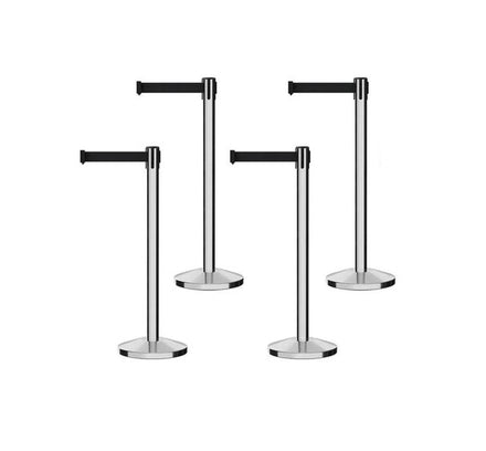 Set of (4) CCW Series RBB-100 Polished Stainless Steel Retractable Belt Barriers - 10 Ft. Belt | FREE SHIPPING