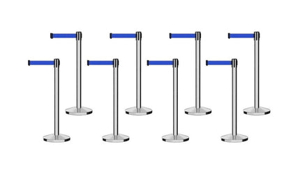 Set of (8) Free Ship CCW Series RBB-100 Polished Stainless Steel Retractable Belt Barriers - 13 Ft. Belt