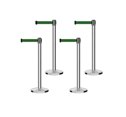 Set of (4) Free Ship CCW Series RBB-100 Polished Stainless Steel Retractable Belt Barriers - 13 Ft. Belt