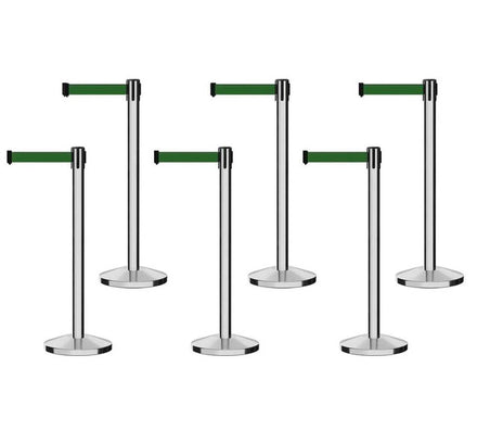 Set of (6) Free Ship CCW Series RBB-100 Polished Stainless Steel Retractable Belt Barriers - 13 Ft. Belt