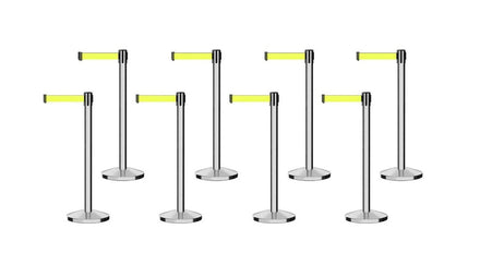 Set of (8) Free Ship CCW Series RBB-100 Polished Stainless Steel Retractable Belt Barriers - 11 Ft. Belt
