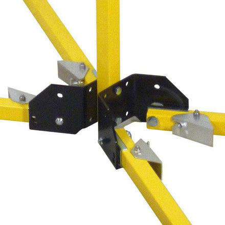 Visiontron Folding Stand Mount Yellow Safety Stanchion with 65 Ft. Belt