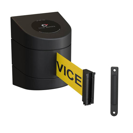 CCW Series WMB-230- Wall Mounted Retractable Belt Barrier With Black Fixed ABS Case- 20, 25 & 30 Ft. Belts