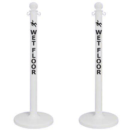 "2.5"" ""WET FLOOR"" White Plastic Ball Top Stanchion"