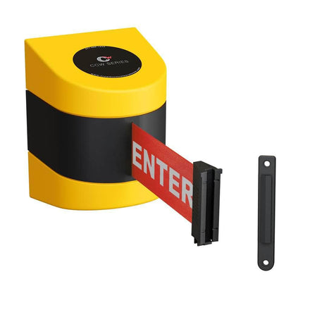 CCW Series WMB-230- Wall Mounted Retractable Belt Barrier With Yellow Fixed ABS Case- 20, 25 & 30 Ft. Belts