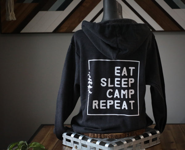 EAT. SLEEP. CAMP. REPEAT. ZIP UP (DESIGN ON BACK)
