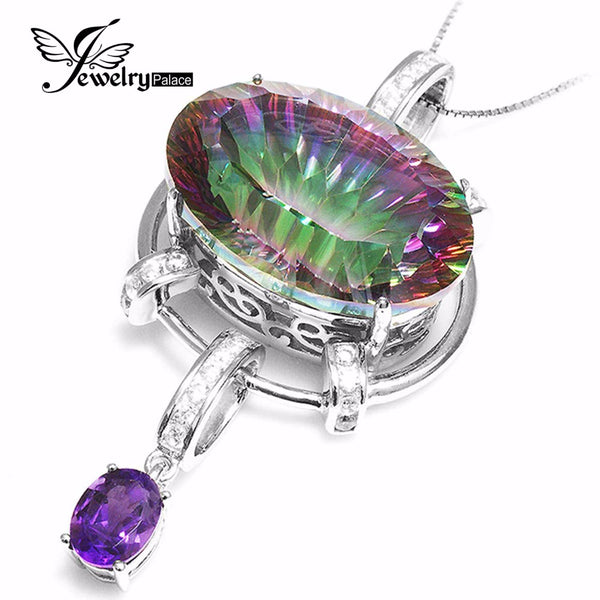 HUGE 39ct Genuine Natural Amethyst Rainbow Fire Mystic Topaz Pendant