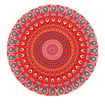 Red Intense Concentration Mandala - Round Beach Towel