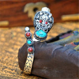 Tibetan Silver Dragon Amulet Handmade from Nepal