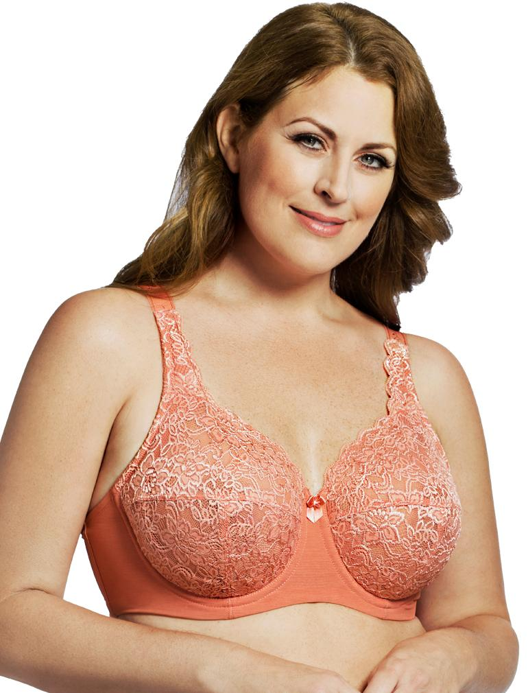 c66b5242b Elila Full Coverage Stretch Lace Underwire Bra in Coral