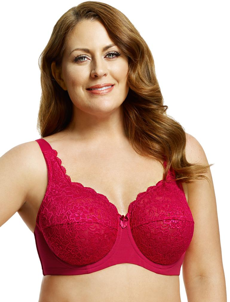 2dbfc7069 Elila Full Coverage Stretch Lace Underwire Bra in Red