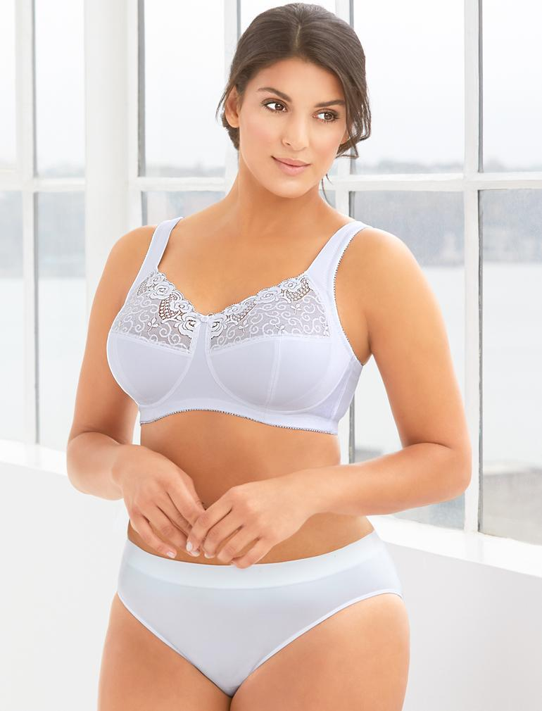 fe4b5aac2 Glamorise Comfort Lift Rose Lace Support Bra in White