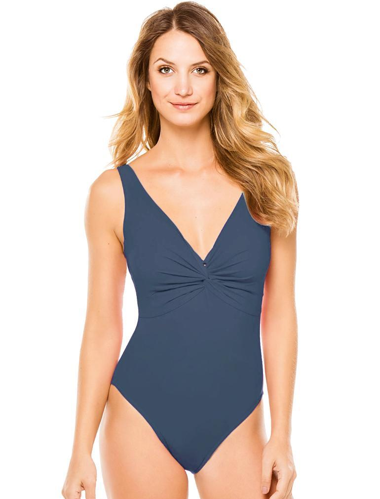 Karla Colletto Twist V-Neck Silent Underwire D+ Cup Swimsuit 55-D70