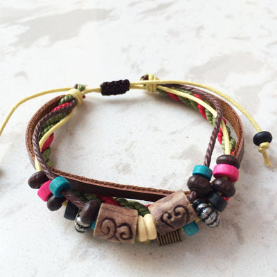 Wooden Bead Hemp Bracelet