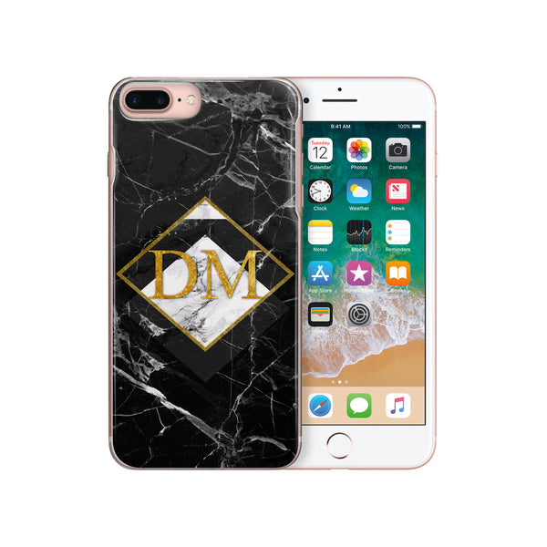 Personalised Monogram Initials iPhone Case Black Marble - Case&Co.