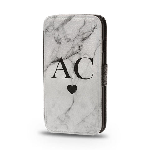 Personalised Flip Phone Case Marble Initial Heart - Case&Co.