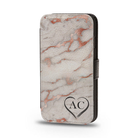 Personalised Flip Wallet Phone Case Rose Gold Marble - Case&Co.