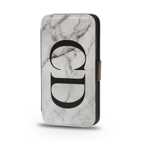 Personalised Flip Phone Case Marble Large Initials