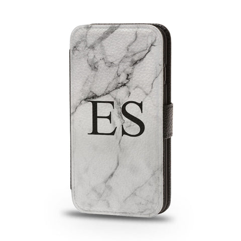 Personalised Flip Phone Case Marble Custom Initials - Case&Co.