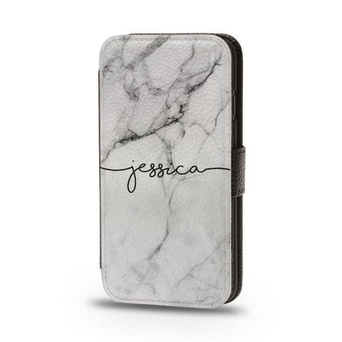 Personalised Flip Phone Case Marble Name