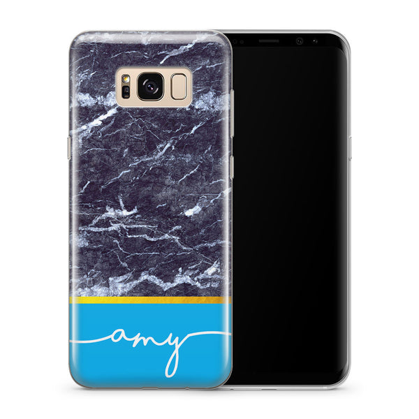 Personalised Phone Case Samsung Galaxy Marble Blue - Case&Co.