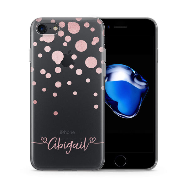 Personalised Pink Dots Custom Name Printed iPhone Case - Case&Co.