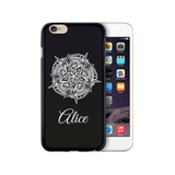 Personalised Name iPhone Case Gel Black Flower - Case&Co.