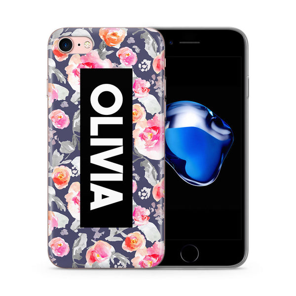 Personalised Phone Case Floral Name Pink Navy - Case&Co.