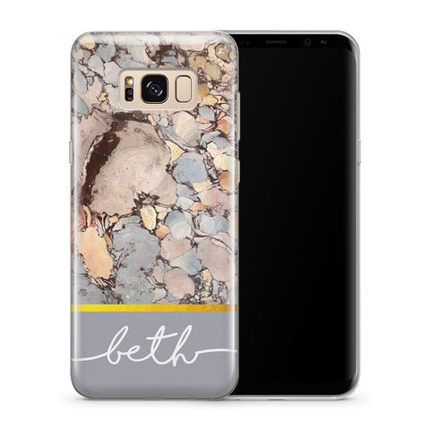 Personalised Phone Case Samsung Galaxy Marble Grey - Case&Co.