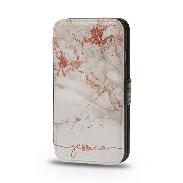Personalised Flip Phone Case Rose Gold Marble - Case&Co.