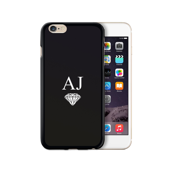 Personalised Initials Monogram iPhone Case Gel Black Diamond - Case&Co.