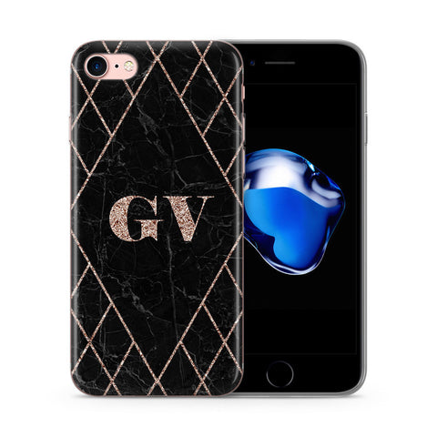 Personalised Black Marble Custom Printed Initial iPhone Case - Case&Co.