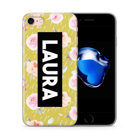 Personalised Phone Case Floral Name Pastel Yellow - Case&Co.