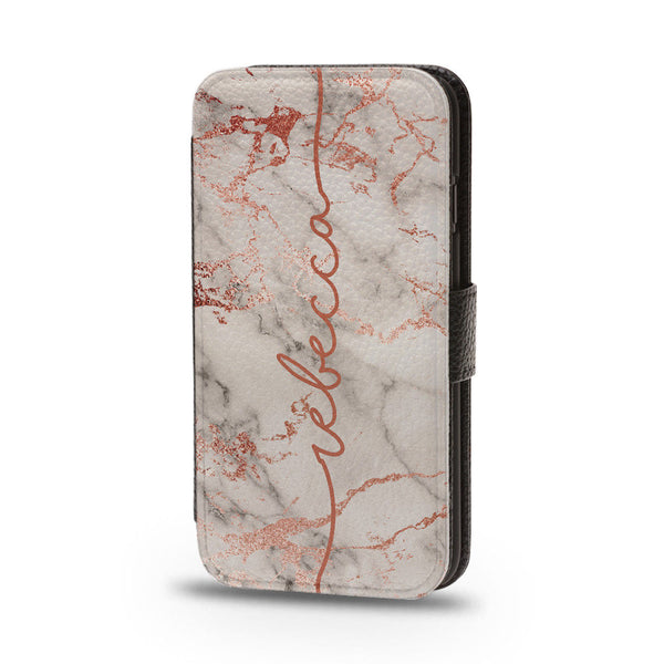 Personalised Flip Phone Case Rose Gold Marble Name - Case&Co.