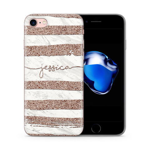 Personalised Rose Gold Glitter Marble Name iPhone Case