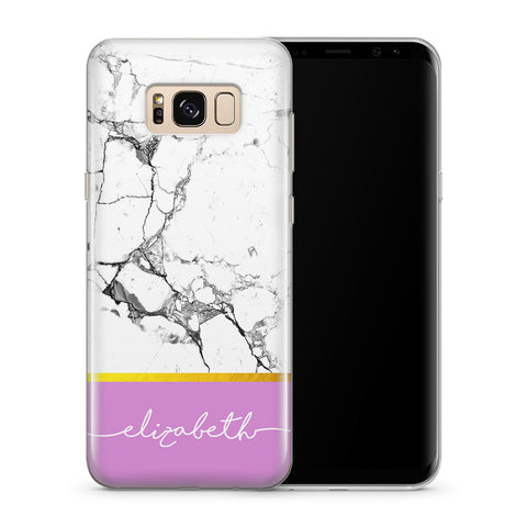 Personalised Phone Case Samsung Galaxy Marble White - Case&Co.