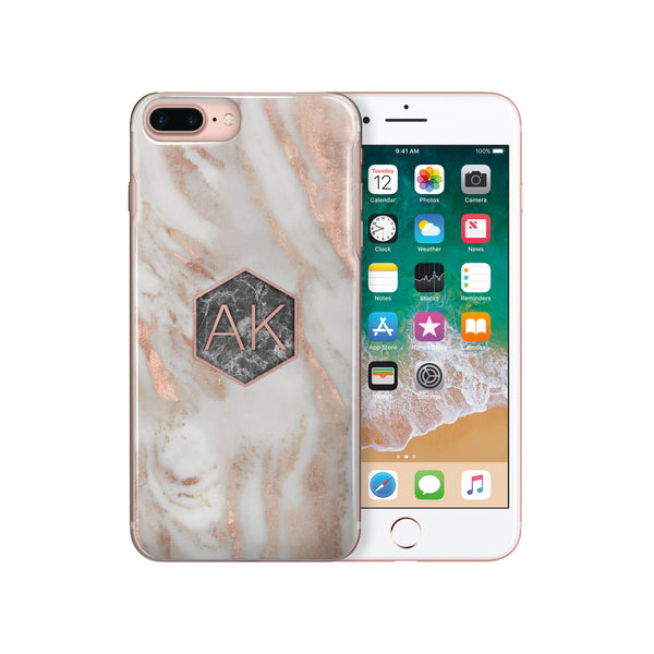 Personalised Initials Monogram Printed iPhone Case Marble - Case&Co.