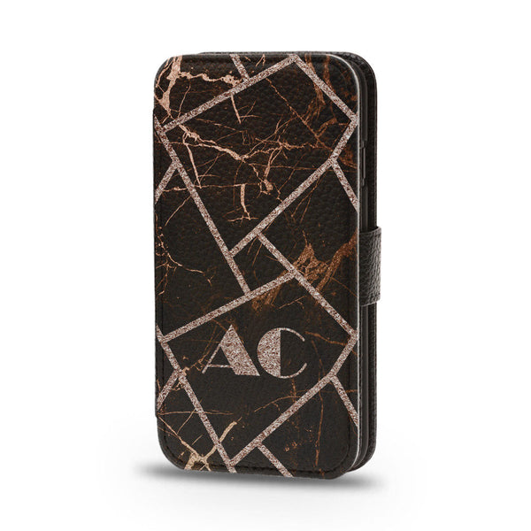 Personalised Flip Phone Case Black Marble Initial - Case&Co.