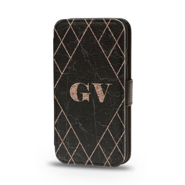 Personalised Flip Phone Case Black Marble Custom Initial - Case&Co.
