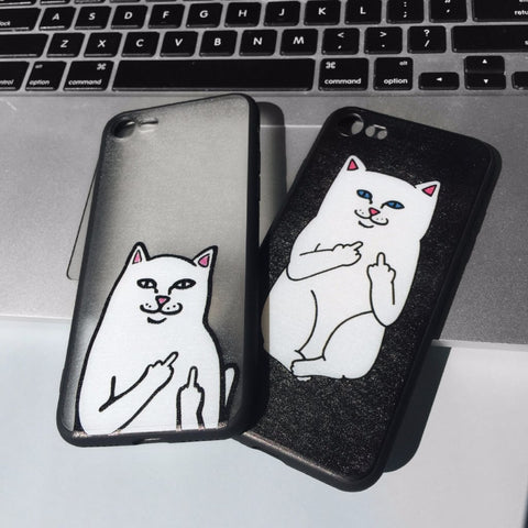 Middle Finger Cat iPhone Case Black - Case&Co.