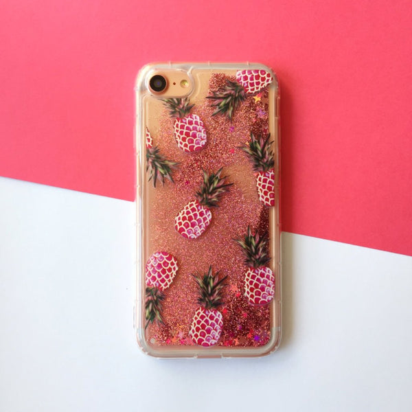 Glitter iPhone Case Pink Pineapple - Case&Co.